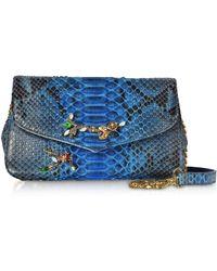 Ghibli - Deep Blue Python Leather Small Shoulder Bag W/crystals - Lyst