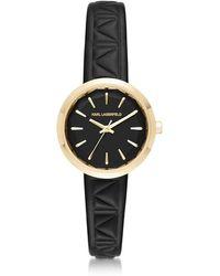 Karl Lagerfeld - Belleville Gold-tone Pvd Stainless Steel Women's Quartz Watch W/black Leather Strap - Lyst