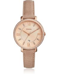 Fossil - Jacqueline Three-hand Crystal Sand Leather Women's Watch - Lyst