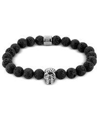 Northskull - Lavastone & Perforated Silver Skull Charm Bracelet - Lyst