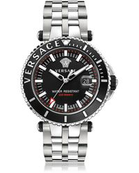 Versace - V-race Diver Stainless Steel Men's Watch W/black Dial - Lyst