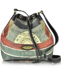 Gattinoni - Planetarium Coated Canvas And Leather Bucket Bag - Lyst