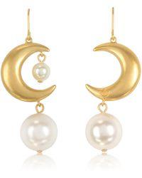Tory Burch - Rolled Brass Celestial Pearl Earrings - Lyst