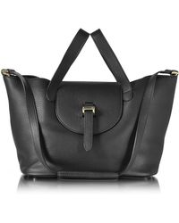 meli melo - Black Leather Thela Medium Tote Bag - Lyst
