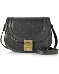 MCM - Trisha Black Monogrammed Leather Small Shoulder Bag - Lyst