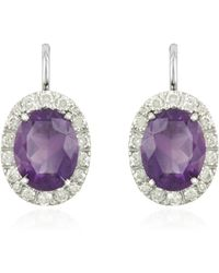 FORZIERI - 0.51 Ct Diamond Pave 18k Gold Earrings W/amethyst - Lyst