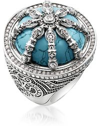 Thomas Sabo | Blackened Sterling Silver & Synthetic Turquoise Ring W/white Cubic Zirconia | Lyst