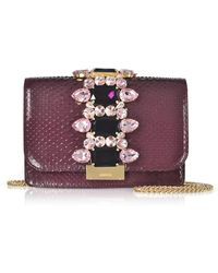 Gedebe - Cliky Purple Python Clutch W/crystals And Chain Strap - Lyst