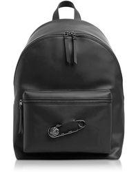 Versus Black Gummy Calf Leather Backpack