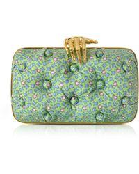 Benedetta Bruzziches - Frogs Printed Green Satin Silk Carmen Clutch W/ Golden Hand - Lyst