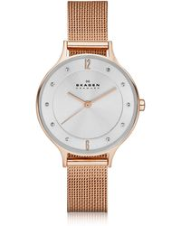 Skagen - Anita Rose Goldtone Stainless Steel Women's Watch W/mesh Bracelet Band - Lyst