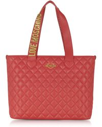 Love Moschino | Fashion Red Quilted Eco-leather Tote Bag | Lyst