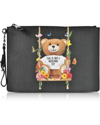 Moschino   Teddy Bear Black Eco Leather Large Clutch   Lyst