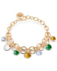 Rebecca - Hollywood Stone Yellow Gold Over Bronze Chains Bracelet W/hidrothermal Stones - Lyst