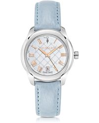 Trussardi - T01 Lady Stainless Steel And Blue Leather Women's Watch - Lyst