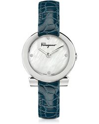 Ferragamo - Gancino Stainless Steel White Mother Of Pearl And Diamonds Women's Watch W/blue Croco Embossed Strap - Lyst