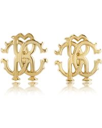 Roberto Cavalli - Rc Lux Golden Stud Earrings - Lyst