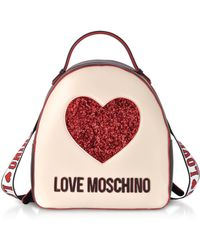 Love Moschino - Ivory & Black Heart Backpack - Lyst