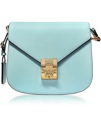MCM - Patricia Liquid Blue Leather Small Shoulder Bag - Lyst
