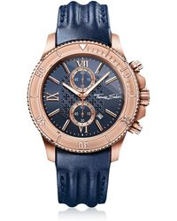 Thomas Sabo - Rebel Race Rose Gold Stainless Steel Men's Chronograph Watch W/blue Leather Strap - Lyst