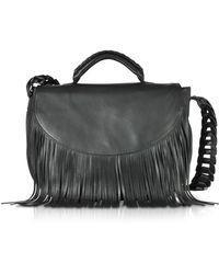 RED Valentino - Black Fringed Leather Shoulder Bag - Lyst
