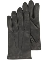 Forzieri | Black Leather Handmade Men's Gloves W/wool Lining | Lyst