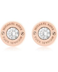 Michael Kors - Iconic Stainless Steel Stud Earrings W/crystals - Lyst