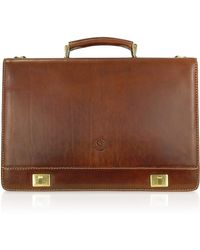 Chiarugi - Handmade Brown Genuine Italian Leather Multi-pocket Briefcase - Lyst