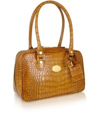 L.A.P.A. - Camel Croco Stamped Italian Leather Shoulder Bag - Lyst