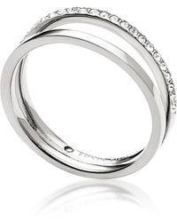 Fossil - Duo Glitz Stainless Steel Women's Ring W/crystals - Lyst