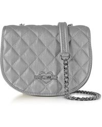 Love Moschino - Silver Metallic Quilted Eco-leather Crossbody Bag - Lyst