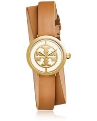 Tory Burch - Tbw4018 The Reva Double Wrap Luggage Leather Women's Watch - Lyst