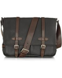 Chiarugi - Black And Brown Leather Messenger - Lyst