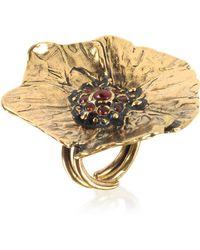 Alcozer & J - Goldtone Brass Poppy Ring - Lyst