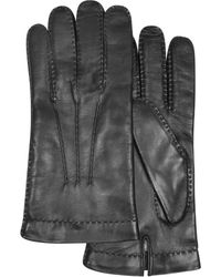 FORZIERI - Men's Cashmere Lined Black Italian Leather Gloves - Lyst