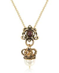 Alcozer & J - Crown And Pearl Necklace - Lyst
