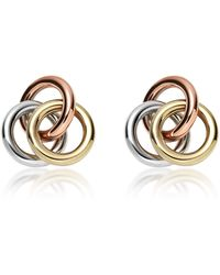 Fossil - Tri-tone Circle Studs Women's Earrings - Lyst