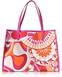 Emilio Pucci - Orange And Fuchsia Printed Canvas Tote Bag - Lyst