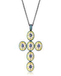 Azhar - Capri Silver Zircon And Enamel Cross Necklace - Lyst