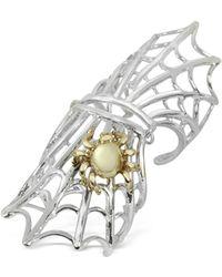 Bernard Delettrez - Spiderweb Silver And Bronze Articulated Ring - Lyst