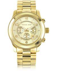 Michael Kors - Men's Runway Gold-Tone Stainless Steel Bracelet Watch - Lyst