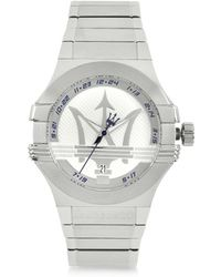 Maserati - Potenza 3h Silver Dial Stainless Steel Watch - Lyst