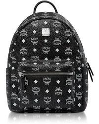MCM - Small Black and White Logo Visetos Stark Backpack - Lyst