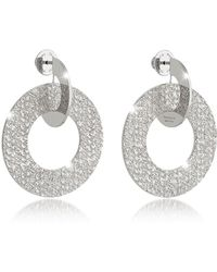 Rebecca - R-zero Rhodium Over Bronze Drop Hoop Earrings - Lyst