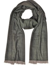 Marina D'este - Zigzag Stripe Cashmere Silk And Wool Long Scarf W/fringes - Lyst