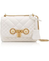 Versace - Small Off White Quilted Leather Icon Small Shoulder Bag - Lyst