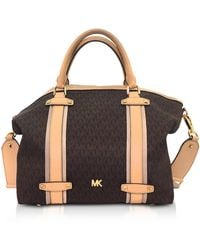 Michael Kors - Burnt Signature Coated Twill Griffin Large Satchel - Lyst