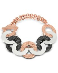 Rebecca - R-zero Rose Gold Over Bronze And Steel Chain Bracelet - Lyst