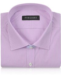 FORZIERI - Slim Fit White And Pink Check Cotton Dress Shirt - Lyst