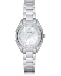 Emporio Armani - Stainless Steel Women's Quartz Watch W/mother Of Pearl Signature Dial - Lyst
